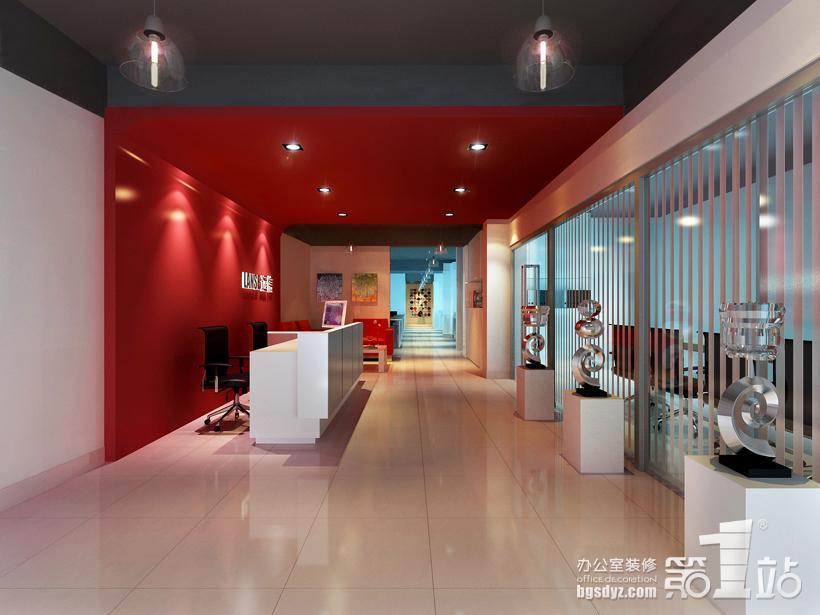 女性网站公司的办公室装修前台招待区效果图