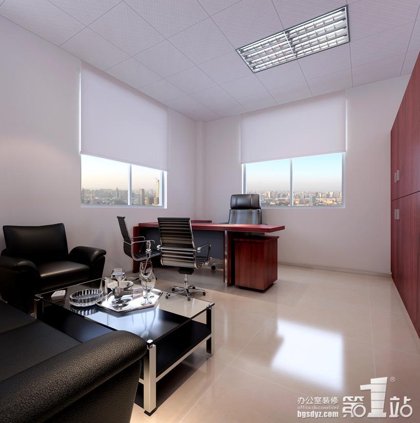 经理室的装修设计威严大气,总之整个办公室装修案例都是康联旗下办公