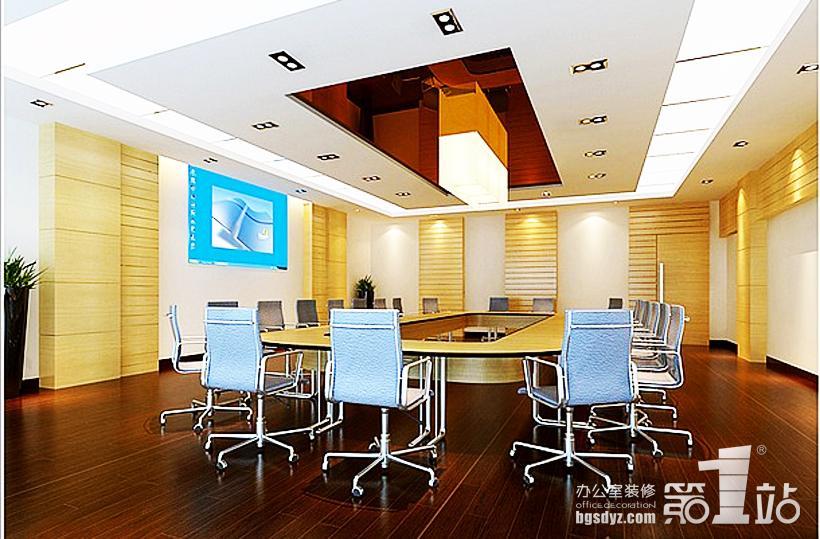 办公室装修案例通过巧妙的设计划出区域来