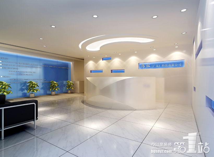 办公室装修效果图采用了时下流行的现代装饰风格