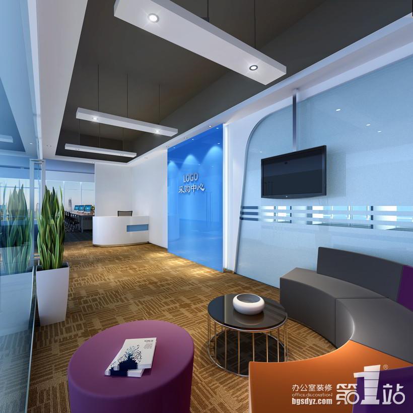 外贸服务咨询公司办公室装修前台效果图