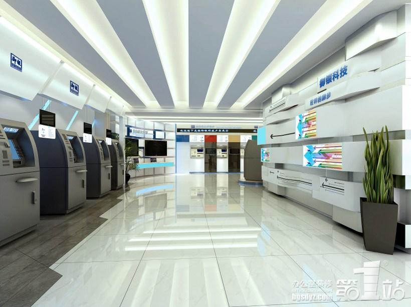 广州御银科技办公室装修展厅效果图 高清图片