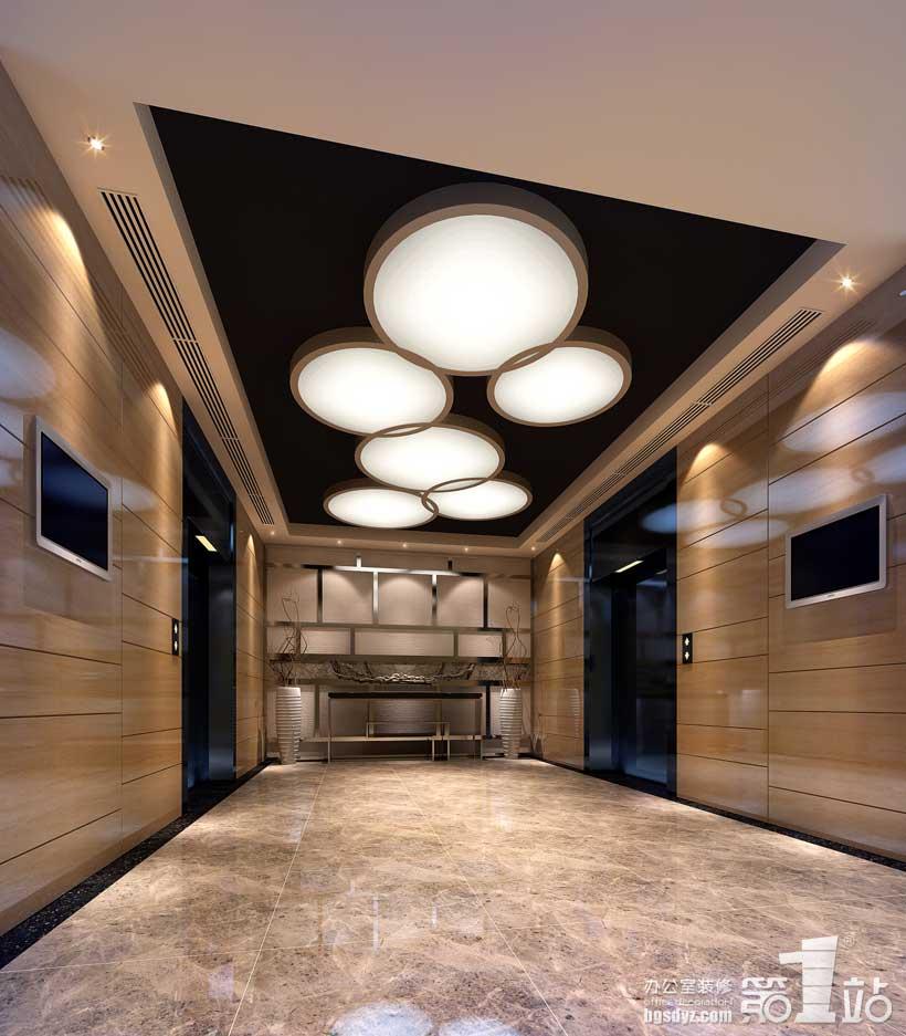 电梯内部装修效-永恒物业管理公司办公室设计案例