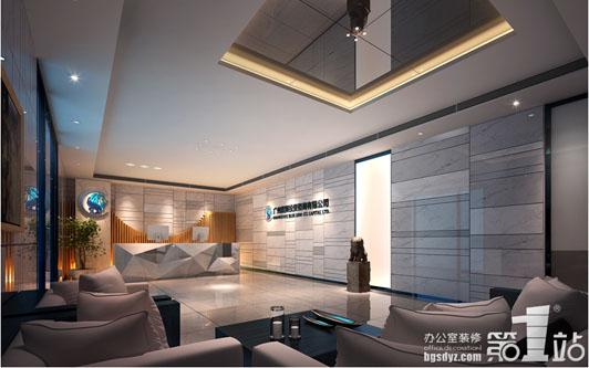 藍獅投資公司珠江新城辦公室裝修前臺效果圖