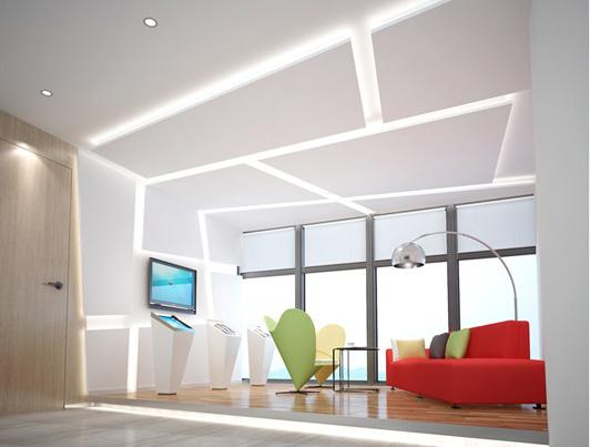 创意是广州办公室装修的力量源泉,只有独树一帜的设计,才有出色的装修。中通服软件公司广州办公室装修案例的创意的点算得上是比较多的一个了,具体可以从它的前台装修效果图、办公走廊装修效果图、办公区装修效果图中都能看到创意的思想。  中通服软件广州办公室装修前台效果图 中通公司广州办公室装修案例中的前台的天花的设计是高低起伏的块状,看起来很有动感,形如跳跃的思维,软件公司要的就是跳跃性的设计思想和无限的创意。前台柜的外型设计成两层梯形,传递阶梯式的服务理念。  它们的广州办公室装修中,办公走廊的入口全都是规则的梯