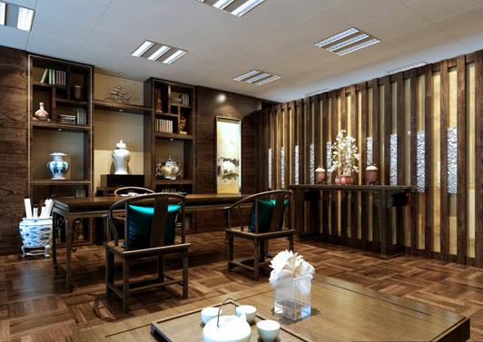 中式办公室装饰案例一效果图