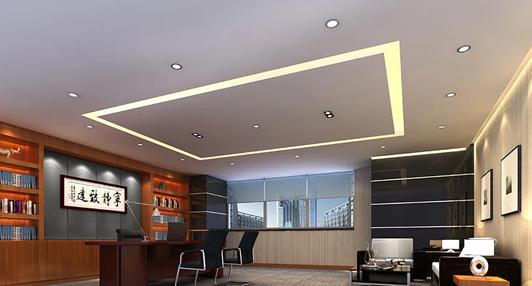高端办公空间设计董事长室效果图