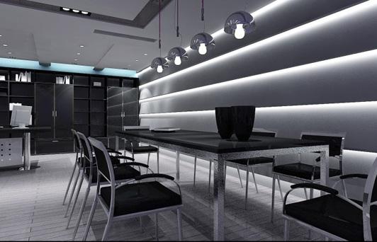 办公室的设计留出了一个区域作为一个小会议区    ,这可能是高层开会