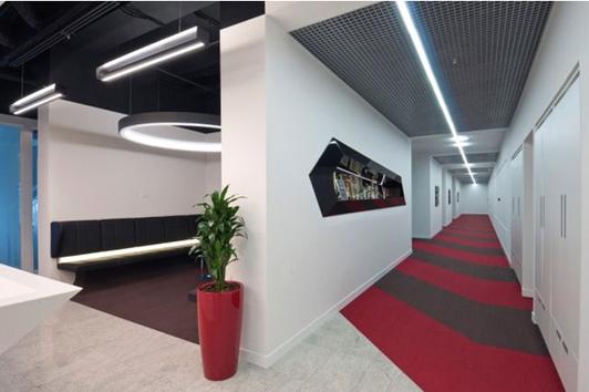 外资企业办公室装修设计过道效果图