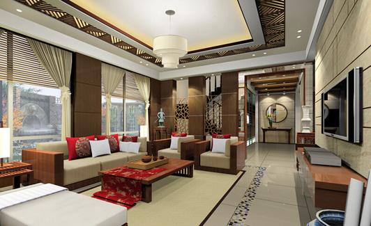 装饰的主要材料,室内的屏风,办公桌椅,还有造型天花等等都来源于木材.图片