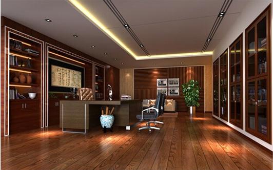 另外办公室装修实木地板的铺装与管道以及墙壁间的