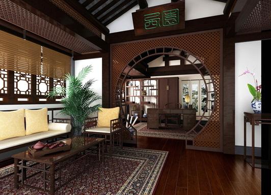 中式古典风格的办公室装饰把我们带回到古代的办公图片