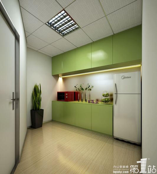 绿色代表环保,它的 广州办公室装修的环保的设计的元素已是这个时代的