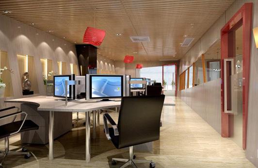 办公室装修设计的吊灯换成了经典的中国红的灯笼造型