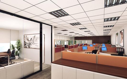 大型企业的办公室装饰办公区效果图