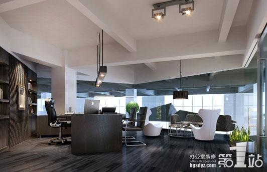 该服饰公司的董事长办公室装饰运用了进口的实木地板,形同高速行进的图片