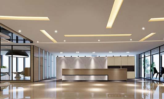 机械工程行业公司办公室装修前台效果图