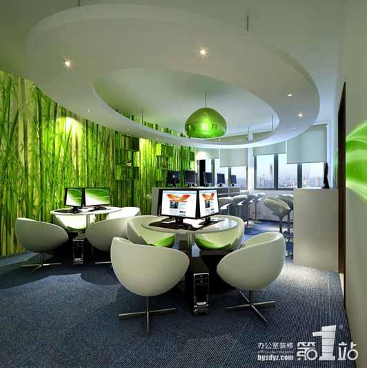 绿色的主题在这里展现办公室装修的时代感,寓意当下和谐发展.