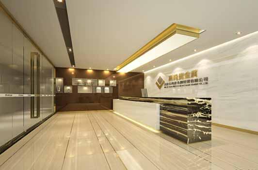 金融行业公司办公室装修前台区采用了大理石的地面