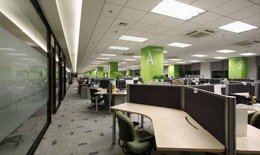 环保行业公司办公装修优秀案例办公区效果图