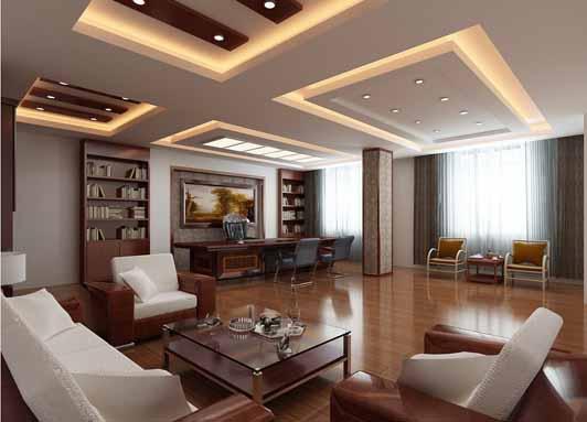 中式风格金融公司办公室装饰董事长室效果图
