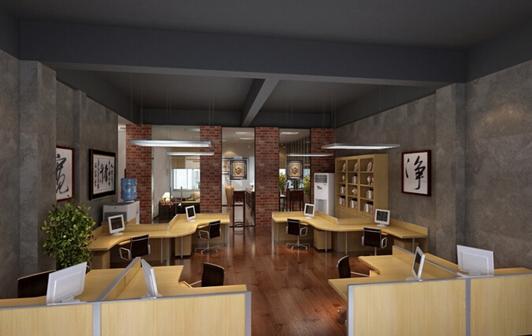 后现代办公室设计极其追求柔美雅致的线条美和富于节奏感的遒劲,还有有条不紊的立体形式,曲线和非对称线条是构成它的主要设计要素。后现代风格办公室设计不同于现代风格,不局限于纯理性主义,追求不断的创新。  后现代风格办公室设计办公区效果图 从它的办公区的装修极具可