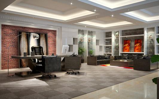 后现代办公室装修设计02案例经理室效果图