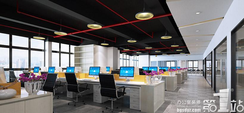 广州朗琴广告有限公司办公室装修设计办公区效果图