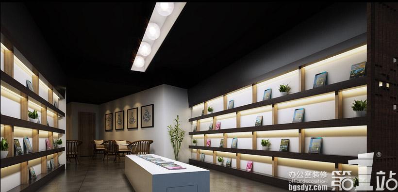 广州绿地房地产开发公司办公装修设计书吧效果图