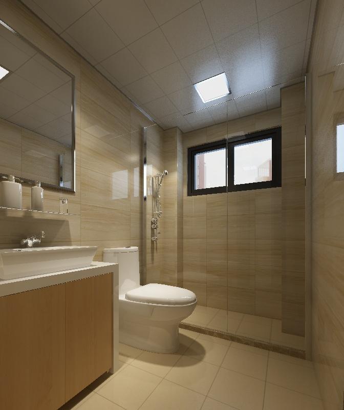 三房两厅一卫洗手间效果图