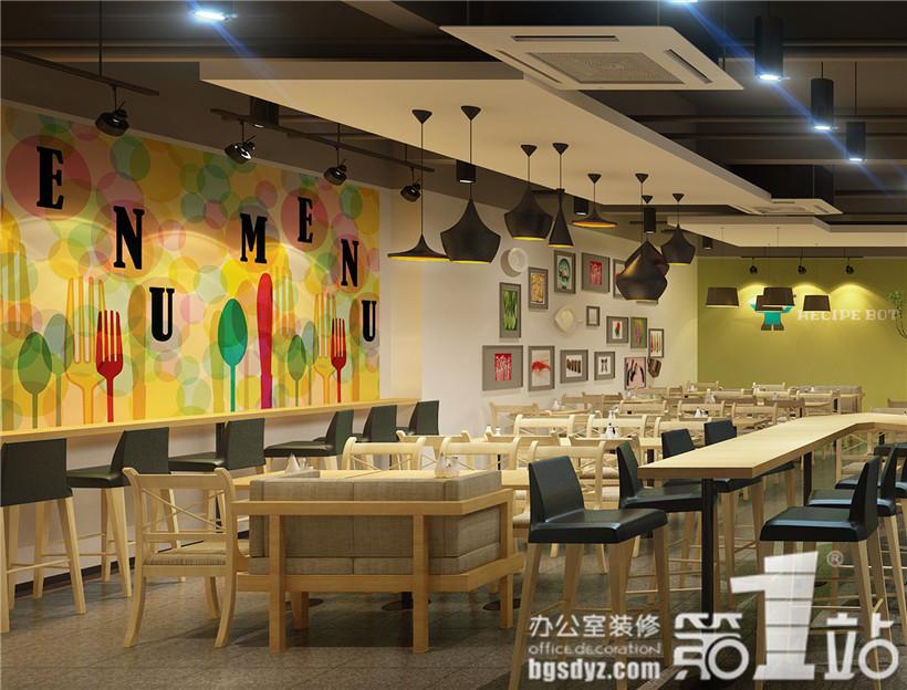 星辉天拓互动娱乐有限公司员工餐厅室内装修设计角度四效果图