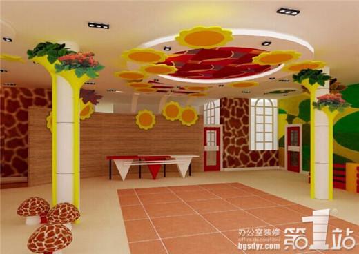 怎样的幼儿园才能吸引幼儿呢?怎样的设计风格才是他们最喜欢的呢?他们是喜欢缤纷多彩的呢?还是喜欢轻快欢乐的呢?或者是充满艺术气息的呢?如果你的幼儿园要打动幼儿的话,那么首先,你就要先打动家长们,好的幼儿园设计,家长才放心让幼儿在这个空间环境成长。  个性的天花设计,是这个幼儿园设计的一个特色,多彩的鲜花在天空中飞舞,吸引着彩虹在追逐,很有意境的设计。