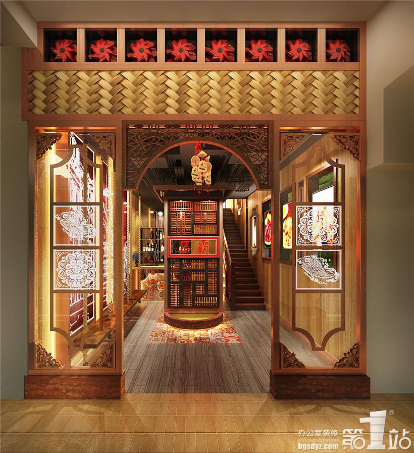 餐厅设计一楼内部角度一效果图