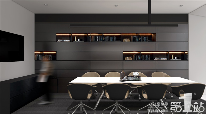 项目面积:2500平方米 项目地址:广州市天河羊城创业园 设计理念:良策办公室设计运用现代室内设计手法,线条简单、装饰元素少,显示了现代室内设计的美感,体现了现代时尚简约的特征,没有过分的装饰,一切从功能出发,讲究造型比例适度,强调外观的明快、简洁,表现出了现代生活快节凑、简约和实用的效果。  良策办公室设计茶水区设计效果图  良策办公室设计会客室设计效果图  良策办公室设计茶室设计效果图  良策办公室设计董事长办公室设计效果图  良策办公室设计董事长办公室设计效果图  良策办公室设计董事长办公室设计效果