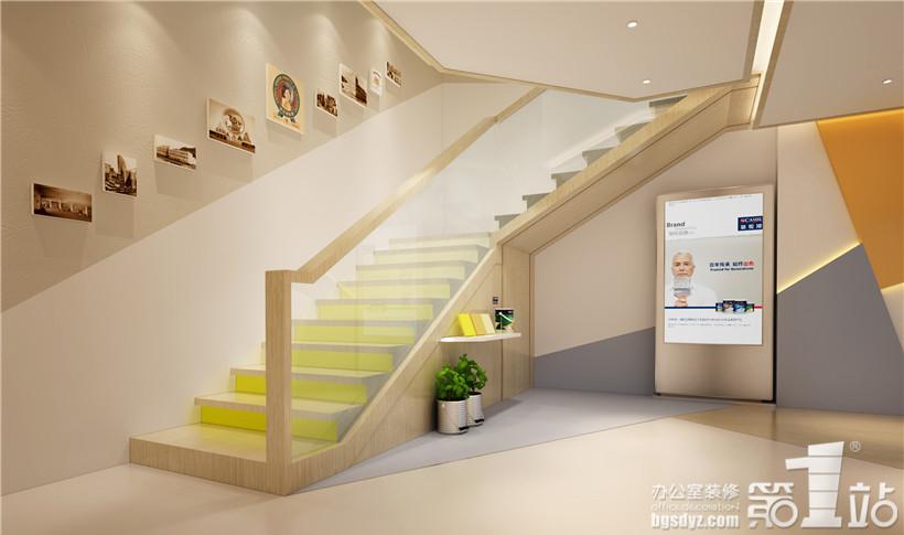 骆驼漆连锁店设计一层楼梯处效果图